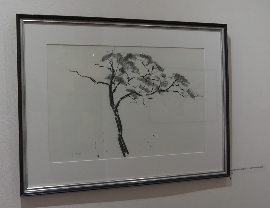3. Madeleine Clear,  Along the Weir Road - to clean the museum , charcoal on paper, 1982, $660