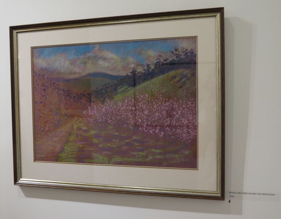 4. Madeleine Clear, Rossi's Orchard along the Weir Road , oil pastel on paper, 1984,$770