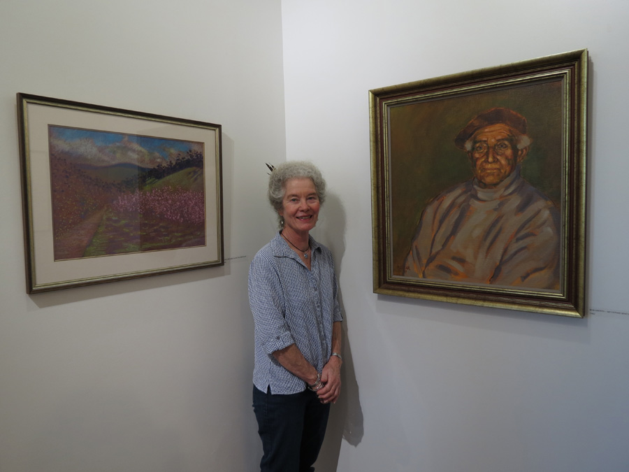 Madeleine Clear with her portrait of her father, Bob Drenth