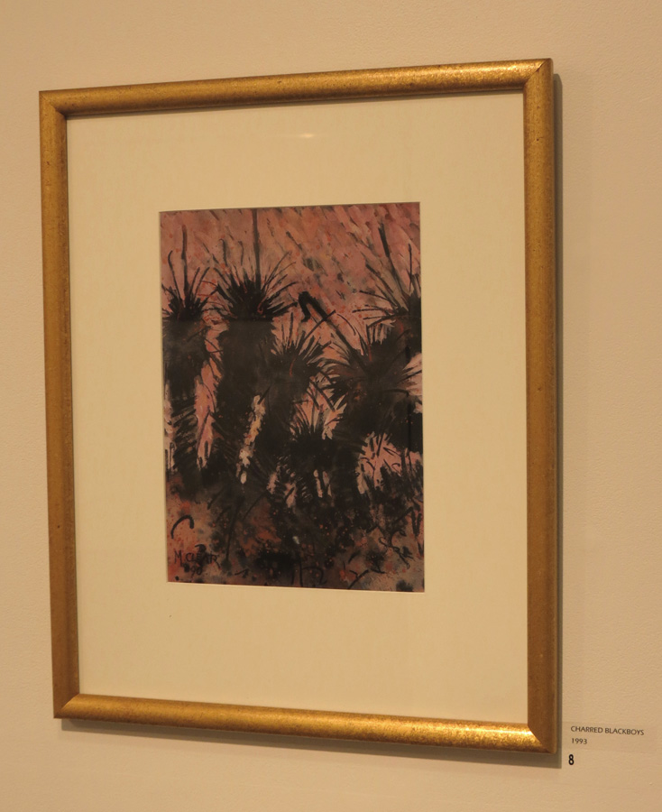 8. Madeleine Clear, Charred Blackboys , mixed media on Arches paper, 1993, $990