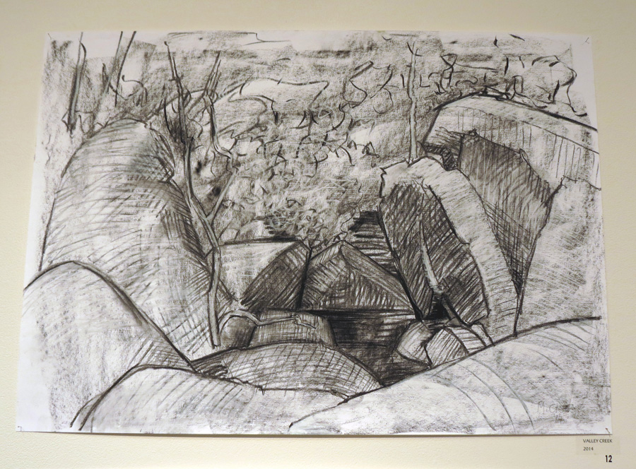 12. Madeleine Clear,  Valley Creek , charcoal on paper (unframed), 2014, $660