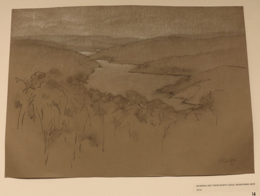 14. Madeleine Clear,  Morning Mist From North Ledge, Mundaring Weir,  charcoal, conte on Canson paper (unframed), 2010, $660