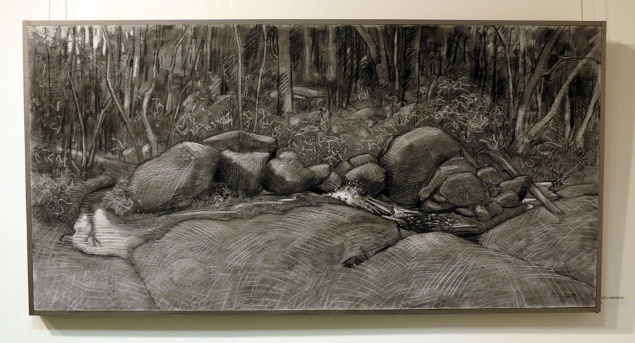 18.Madeleine Clear, The Little Waterfall , charcoal on plywood, 2014, $1,450