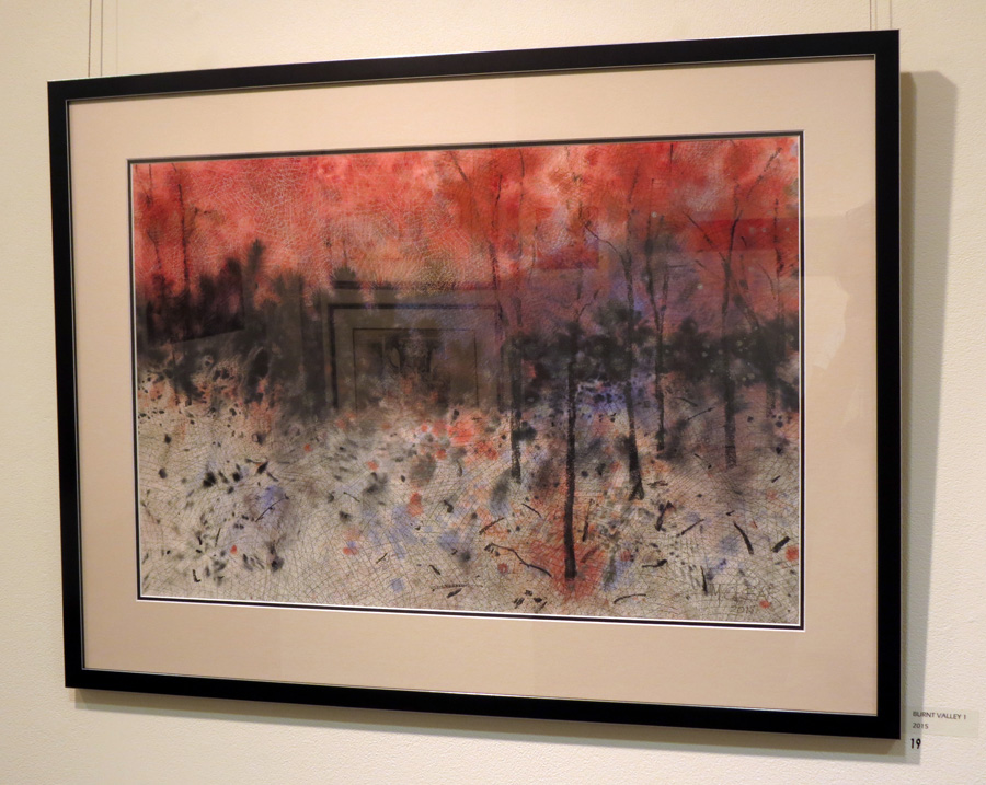 19. Madeleine Clear,  Burnt Valley 1 , mixed media on Arches paper, $2,200