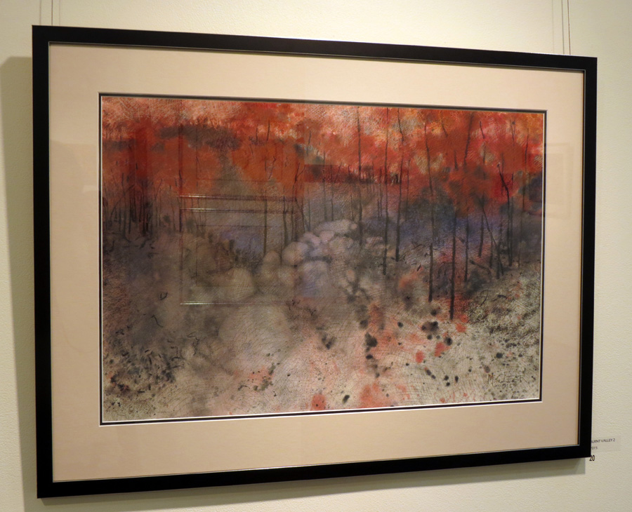 20. Madeleine Clear,  Burnt Valley 2 , mixed media on Arches paper, $2,200