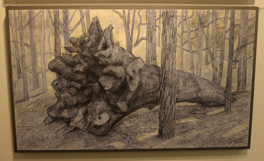 23.Madeleine Clear, Fallen 3 , charcoal, acrylic on board, 2013,$990
