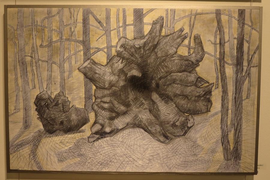 22.Madeleine Clear, Fallen 2 , charcoal, acrylic on board, 2013,$990
