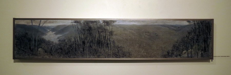 24. Madeleine Clear,  From North Ledge, Mundaring Weir 2 , coloured graphite, charcoal on wood, 2014, $990