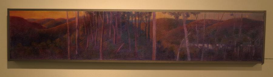 25. Madeleine Clear, Sundown from South Ledge, Mundaring Weir,  mixed media on wood, 2015,$1,200