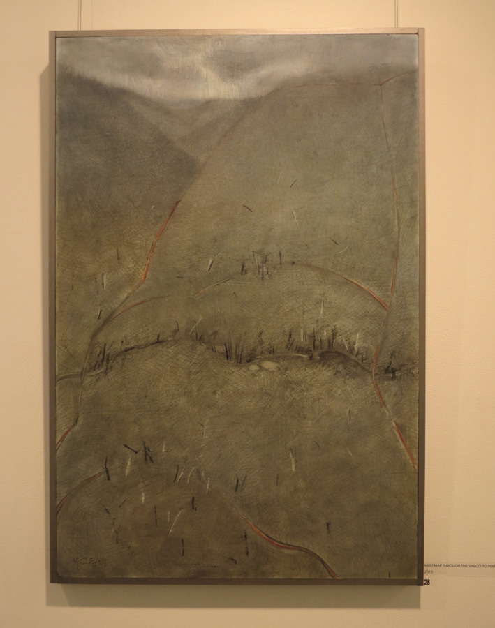 28. Madeleine Clear, Mud Map Through the Valley to Pine Hill , coloured graphite, charcoal on plywood, 2015,$990