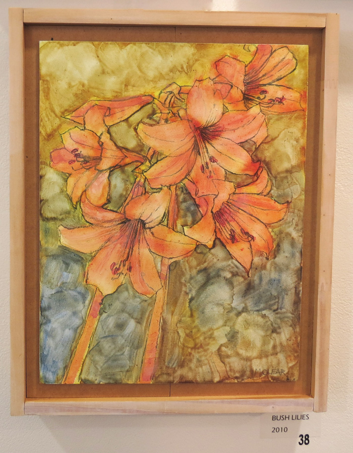 38. Madeleine Clear, Bush Lilies , oil on plywood, 2010, $880
