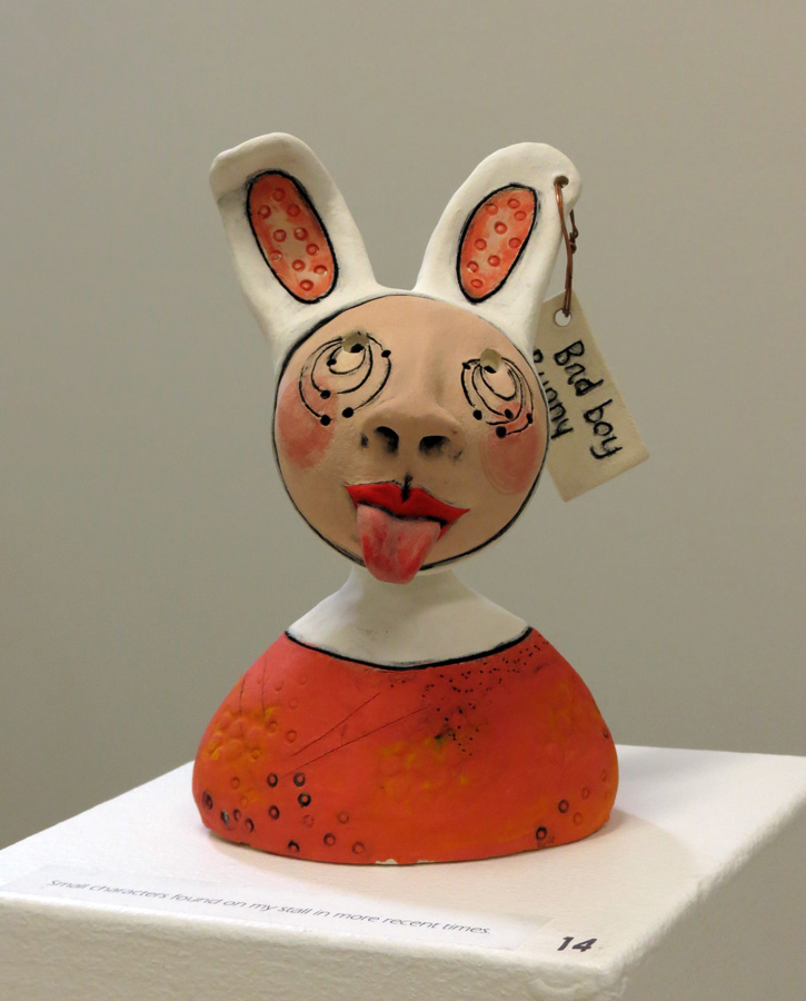 14. Louise Simonette,  Bad Boy Bunny , stoneware paper clay, $120