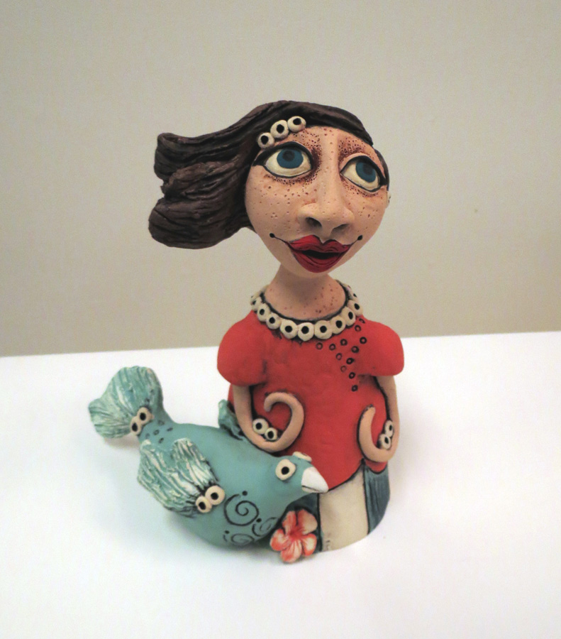 16. Louise Simonette,  Me and My Feathered Friend , stoneware paper clay, $230