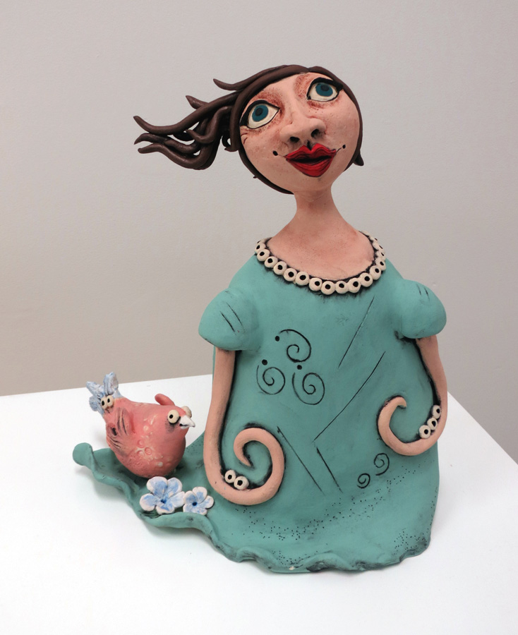 19. Louise Simonette,  Winnie and the Windy Day , stoneware paper clay, $400