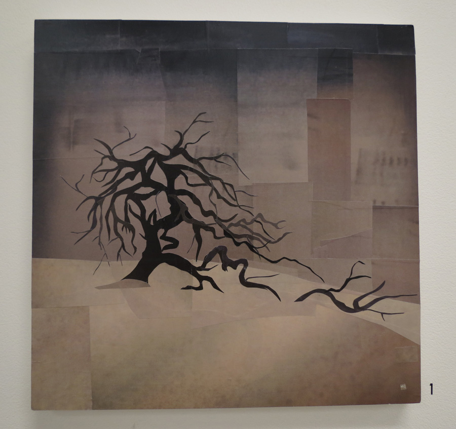 1. Mikaela Castledine, Black Tree - Mogumber Mission , paper collage,$600