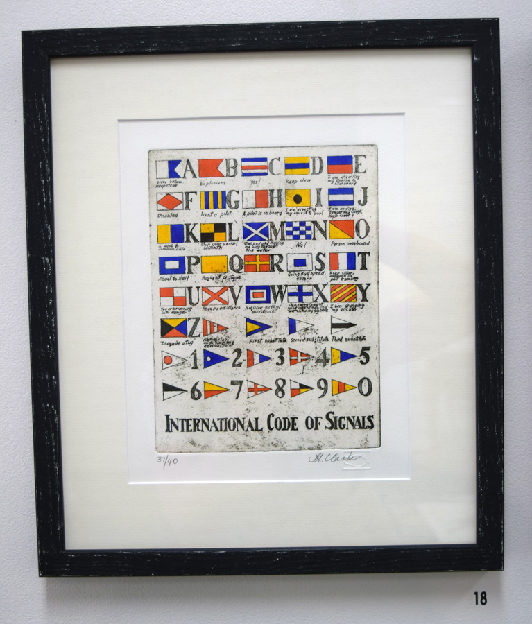 18. Helen Clarke,  International Code of Signals , 37 of 40, hand coloured etching, $250