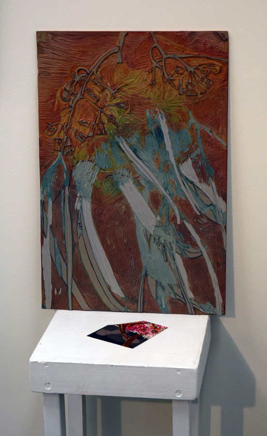 24. Helen Clarke,  Coral Gum,  lino plate and sampler