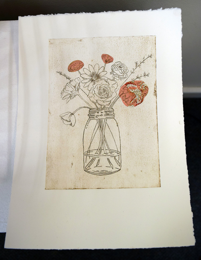33. Kath Stanwix,  Basket works I , hand-coloured collograph, $95