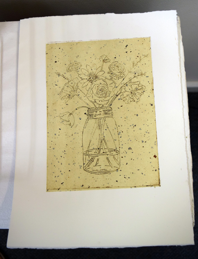 33. Kath Stanwix,  Basket works II , hand-coloured collograph, $95