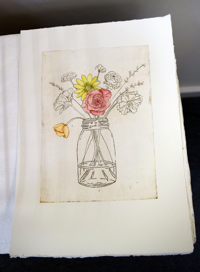 33. Kath Stanwix,  Basket works III , hand-coloured collograph, $95