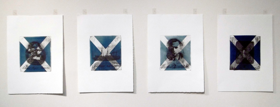 15. 'Dadaith, Seanair, Sinn-Seanair, Sinn-Sinn-Seanair, Series 2', Gregor Hart, Artists Proof, photographic copper plate, etched intaglio print over cyanotype image on paper, $1,000 set of 4