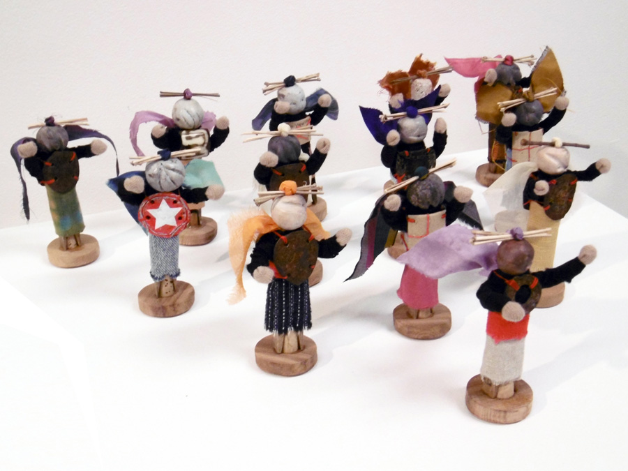 7. 'Warriors', Anne Williams, ceramic, wood, fabric, metal, paper, $65 each
