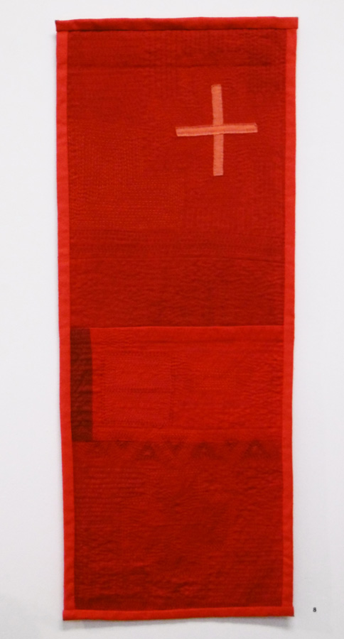 8. 'Red Cloth 1', Anne Williams, cotton, silk, $150