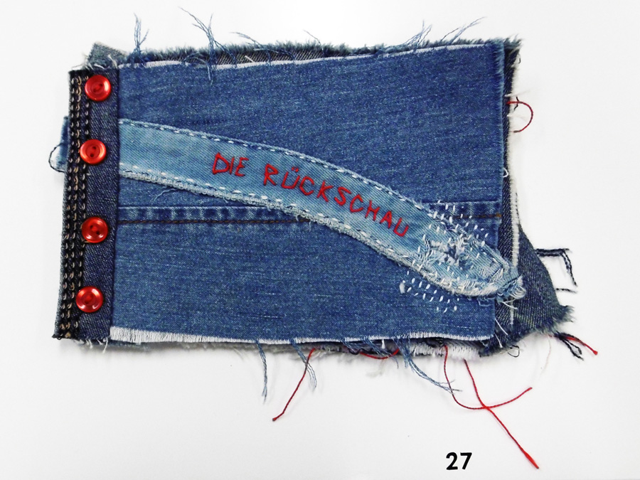 27. 'Die Ruckschau', Anne Williams, recycled denim, buttons, $155