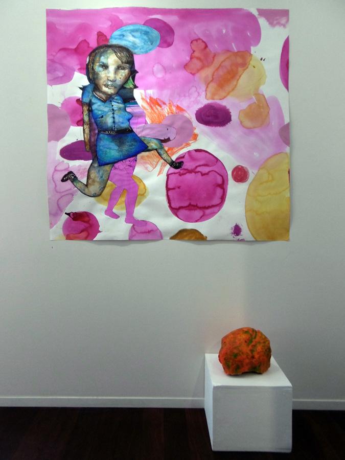 1. 'Girl in Blue Dress', Antony Muia, mixed media on paper, $4,600