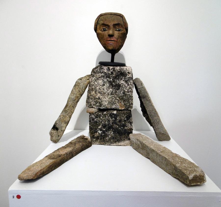 2. 'Man', Antony Muia, stone, acrylic on wood, $4,200
