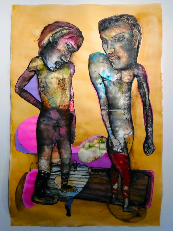 15. 'Man you've been a naughty boy, you let your face grow long', Antony Muia, mixed media on paper, $3,900