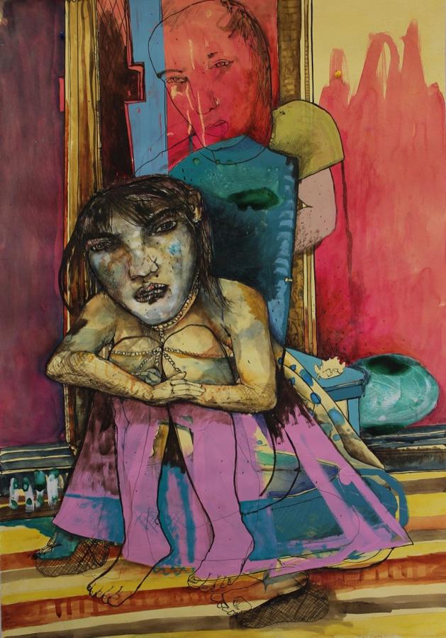 18. 'Horses Lay Down to Sleep Sometimes', Antony Muia, mixed media on paper, $3,900