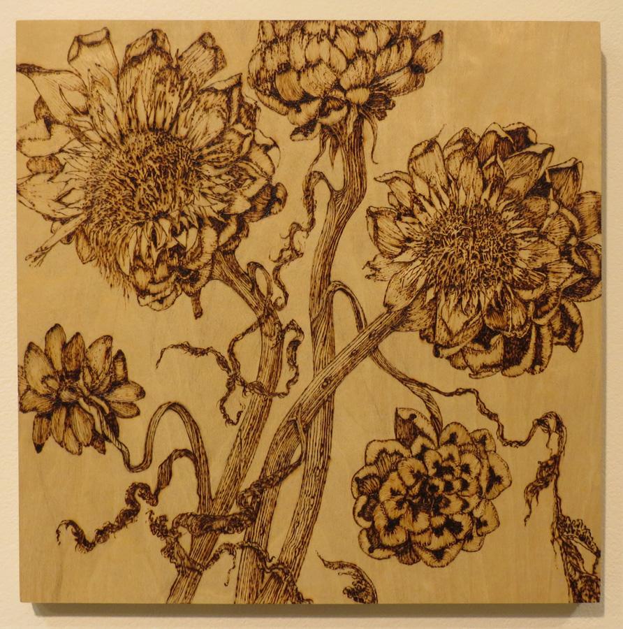 5. 'Dried Artichokes', Sandie Schroder, burnt Birchwood panel, $400