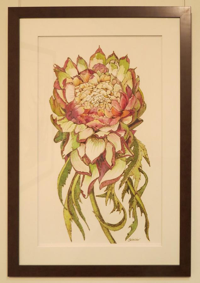 7. 'Artichoke Flower', Sandie Schroder, burnt paper and watercolour, $1,250