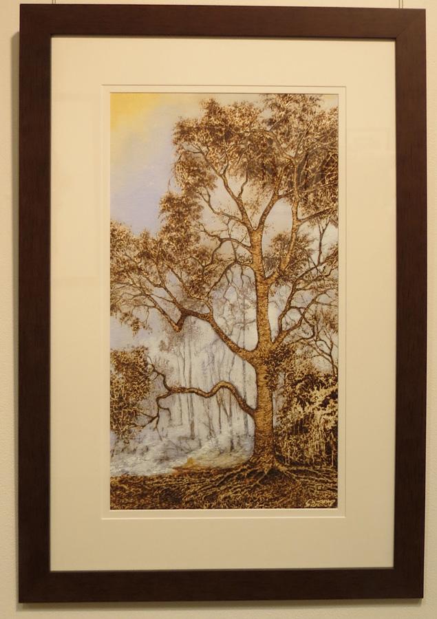 10. 'Just Around the Corner', Sandie Schroder, burnt paper and watercolour, $650