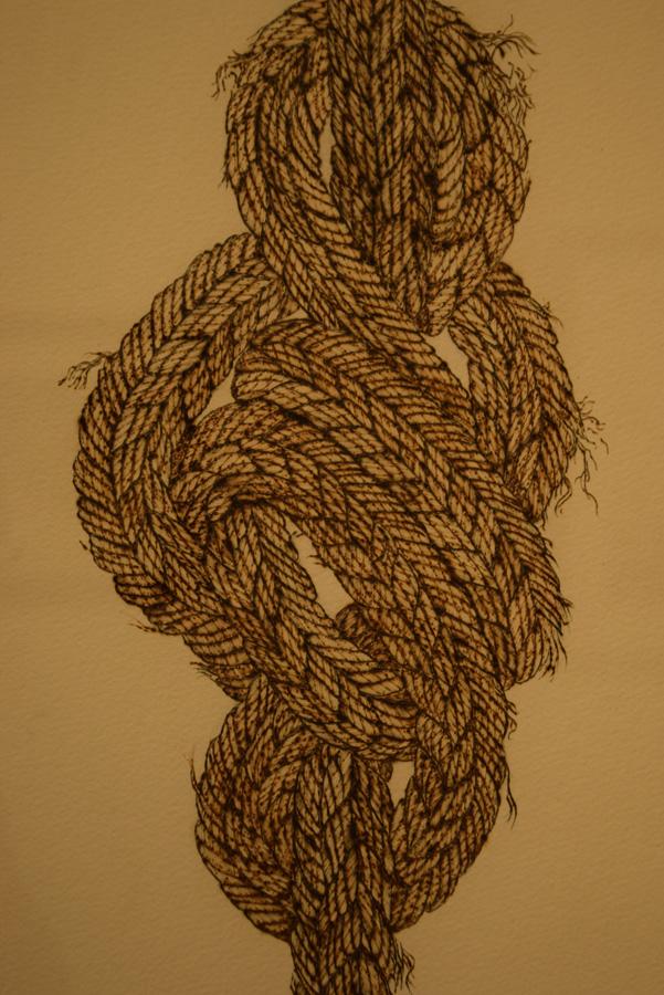 13. 'In Knots' (detail), Sandie Schroder, burnt paper, $650