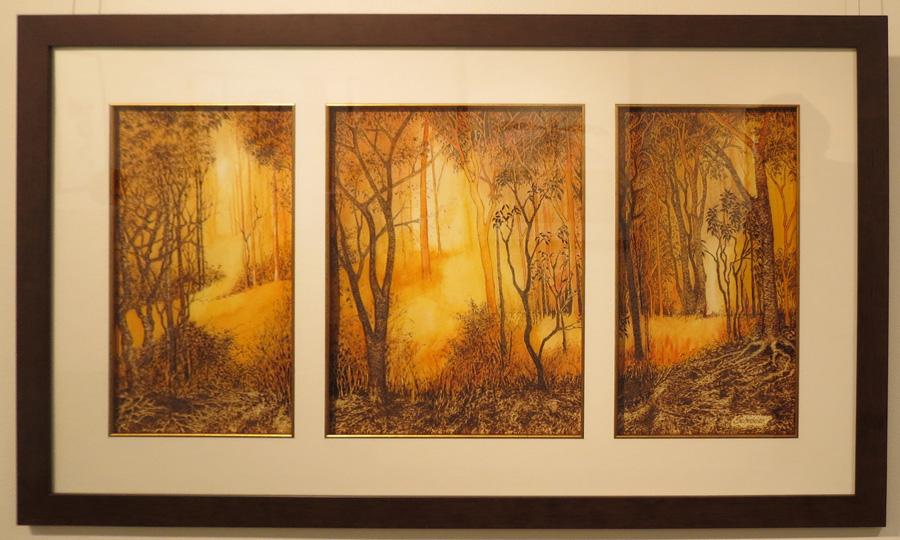 17. 'Summer Triptych', Sandie Schroder, burnt paper and watercolour, $1,650