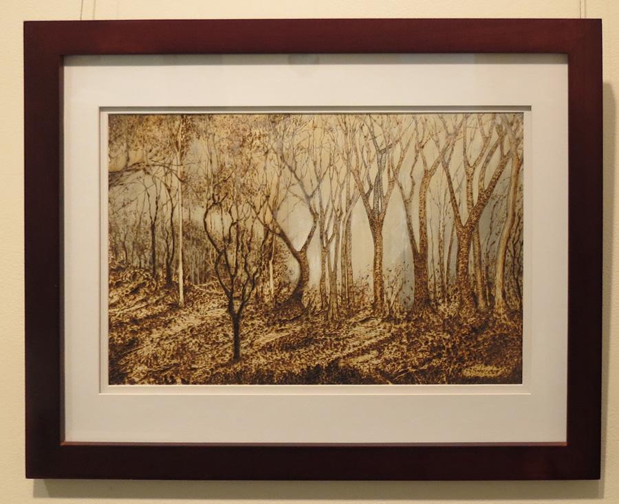 18. 'Smokey Haze', Sandie Schroder, burnt paper and watercolour, $440