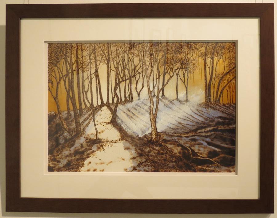 20. 'Radiance', Sandie Schroder, burnt paper and gouache, $675