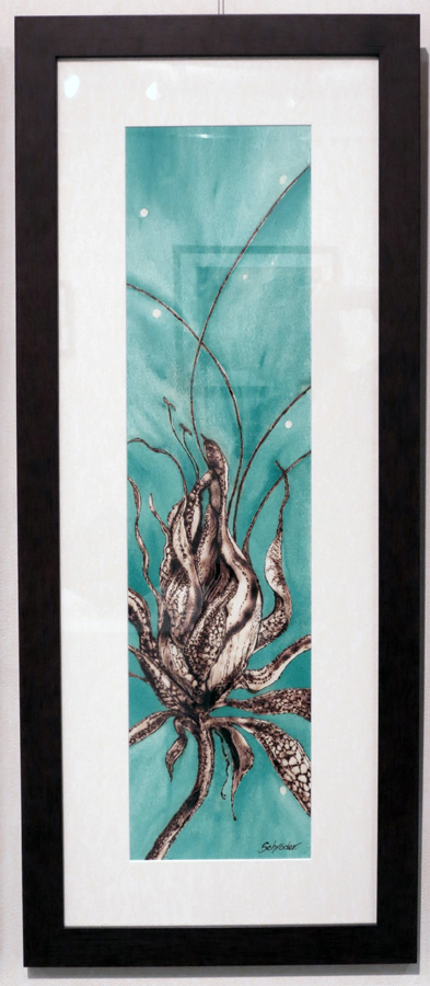 27. 'Floral Ignition V', Sandie Schroder, burnt paper and watercolour, $495