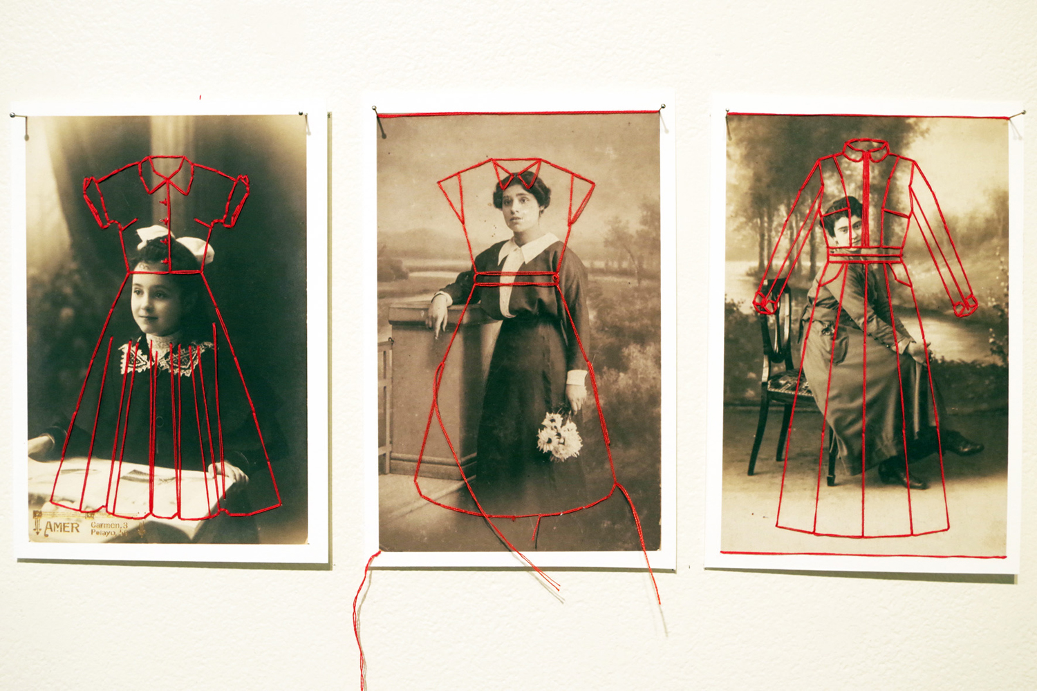 2. 'Unos Cuantos Piquetitos (A Few Small Nips)', Eva Fernandez, inkjet print on Hahnemukle paper, thread, $200 each