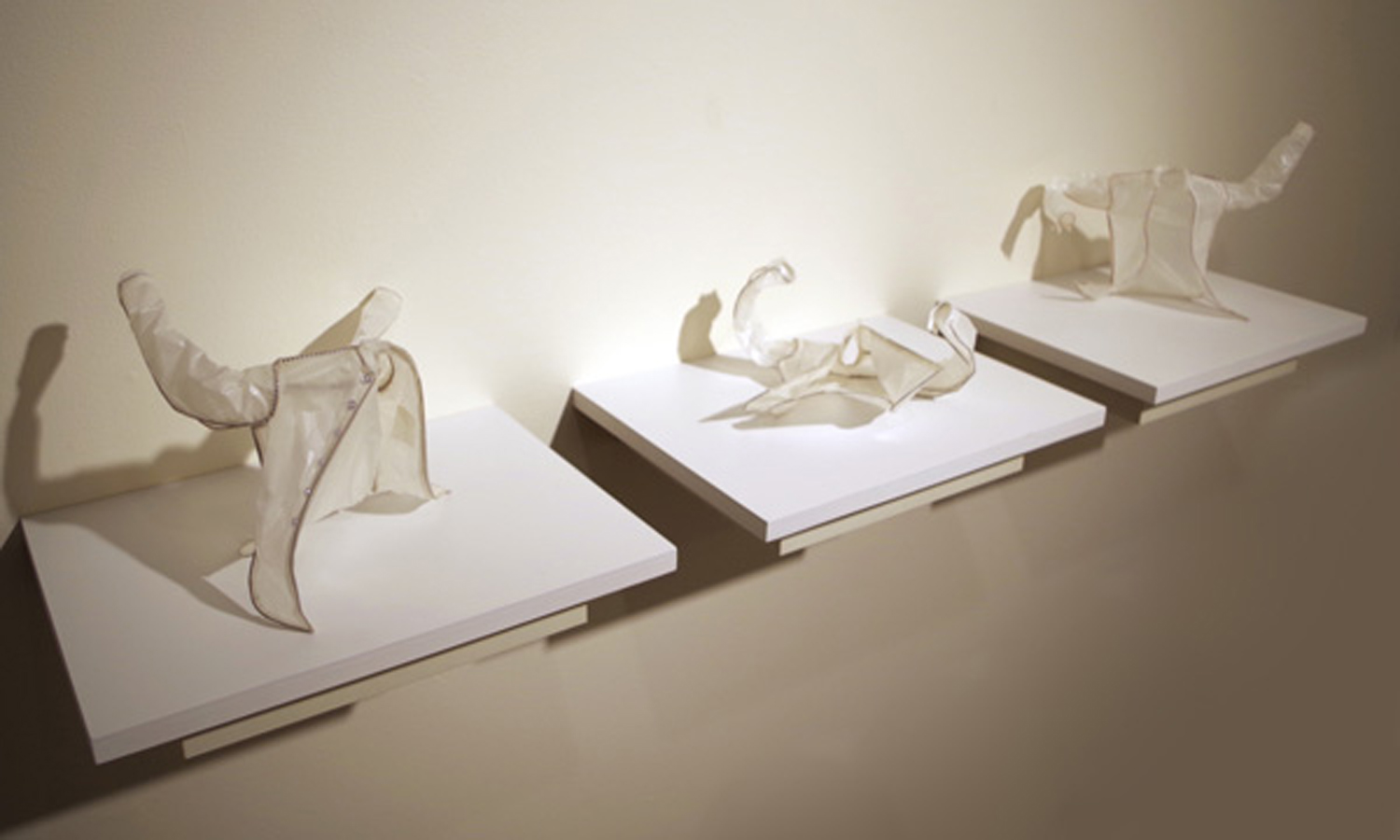 12. 'Edgar's Bad Shirts i, ii, iii', Mikaela Castledine, copper wire, glassine paper, cotton thread, $300 each