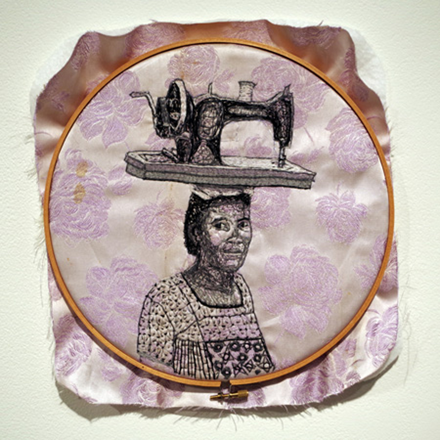 23. 'Maker's Mind', Linda van der Merwe, Mother's dress material 1950's, embroidery threads, hoop, $200