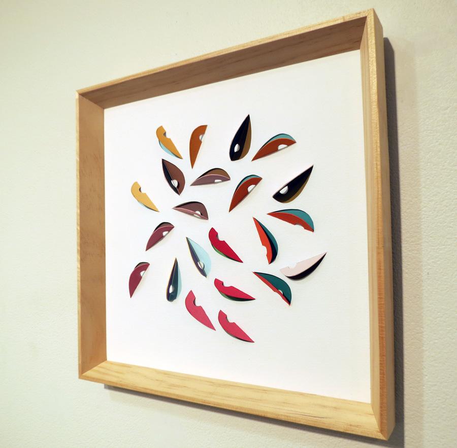 17. 'Leaf Impression 1', Sarah Thornton-Smith, gouache on cutouts, framed, $350
