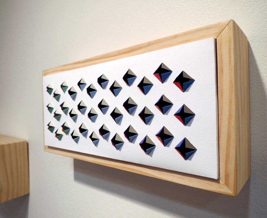 22. 'Crossbeats', Sarah Thornton-Smith, gouache on paper, boxed frame, $320