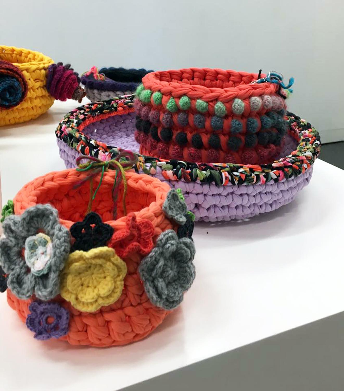 Holly and Jill O'Meehan 'Golden Wattle Hookers', crochet installation