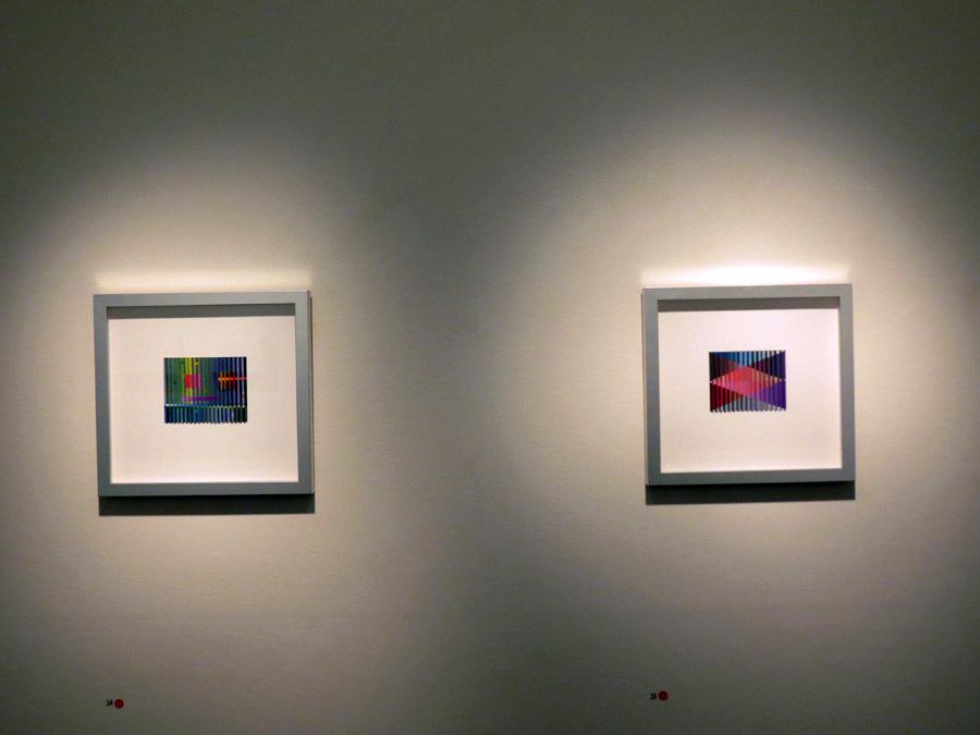 34. 'Morrison's Jazz Interlude', Sarah Thornton-Smith, gouache on paper, framed, $420  35. 'Reintegration', Sarah Thornton-Smith, gouache on paper, framed, $420