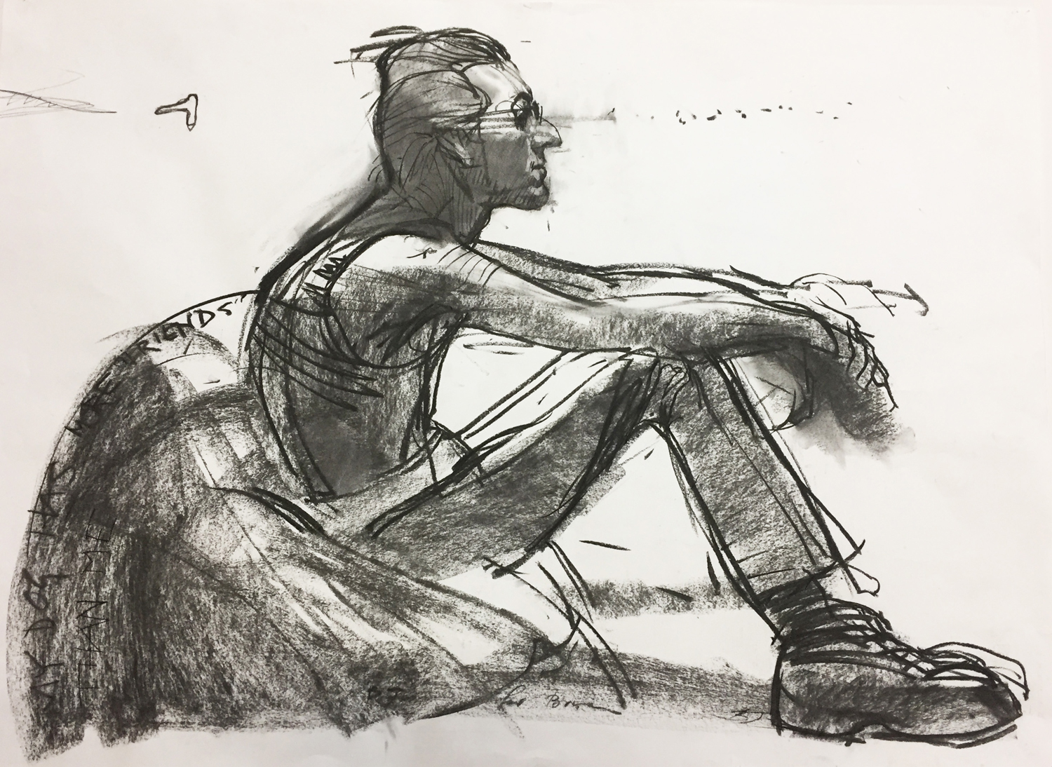 Ben Joel,  Big Brian  2005 ,  charcoal on paper