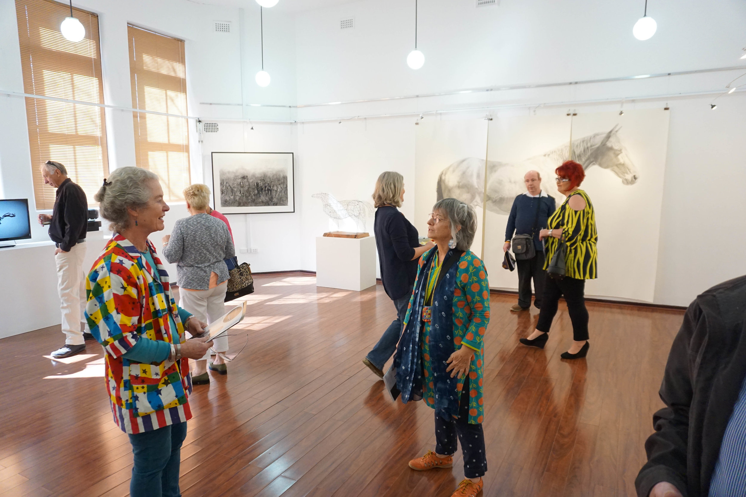 Image: In the foreground 'Horse Drawn' exhibiting artists Madeleine Clear and Linda van der Merwe