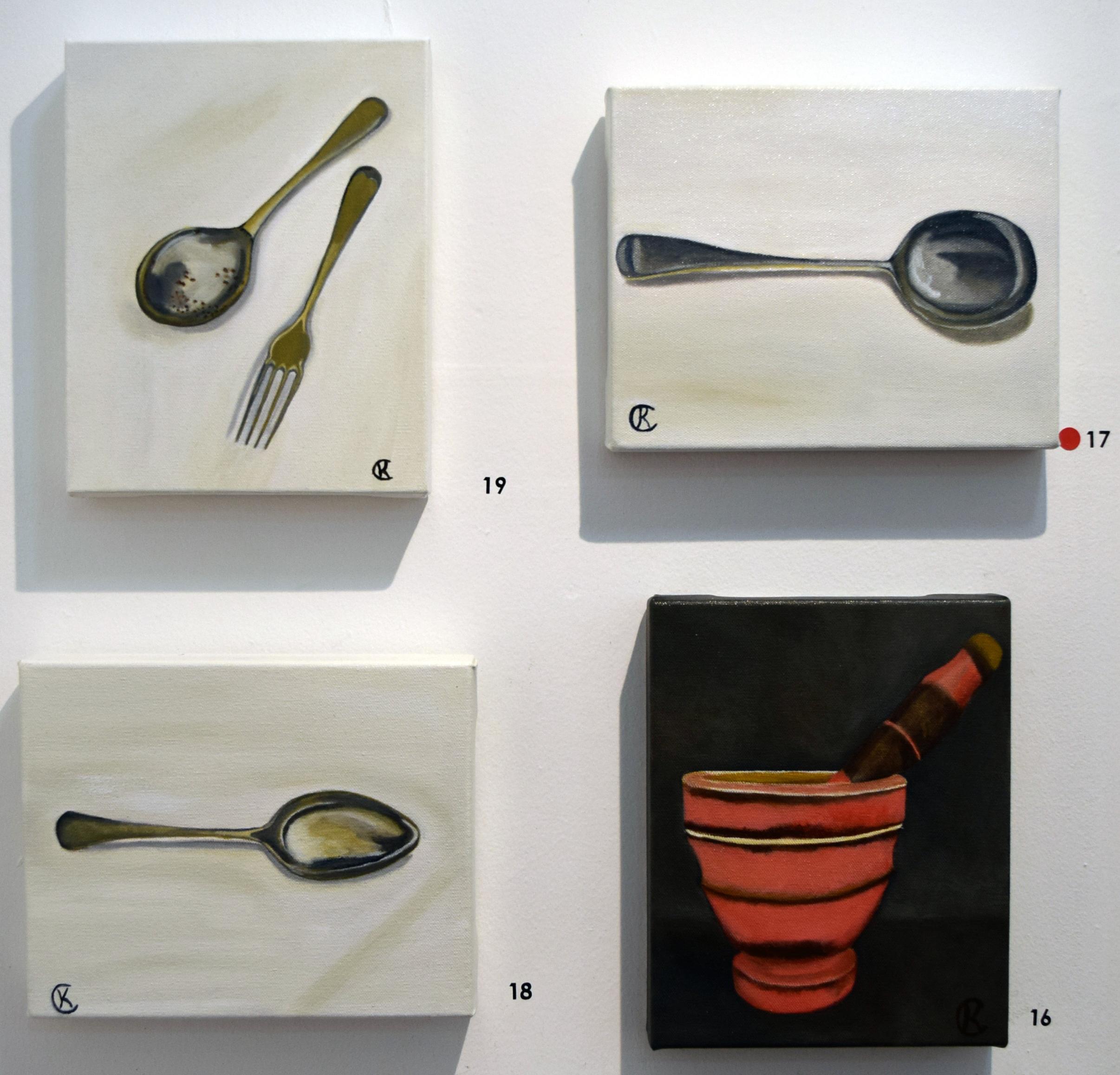 16. - 19. Kimberley Cardow, Vintage Mortar and Pestle, Vintage Soup Spoon, Vintage Spoon, Vintage Spoon & Fork, 2018, acrylic on canvas, each 20 x 26 cm, $135 each